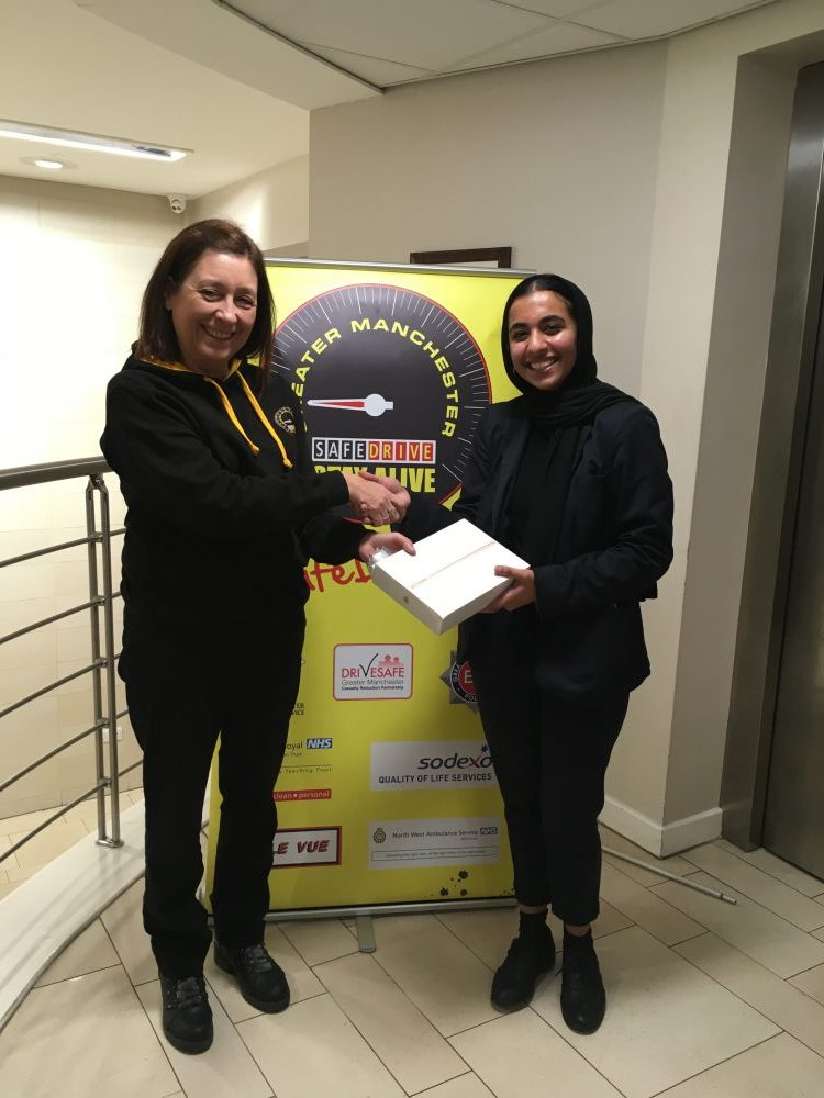 Maariyah Iqbal presented with iPad by Safe Drive GM Co-ordinator